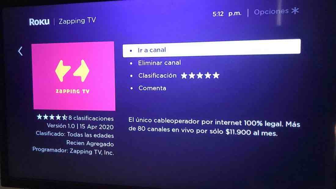 Zapping TV en Roku